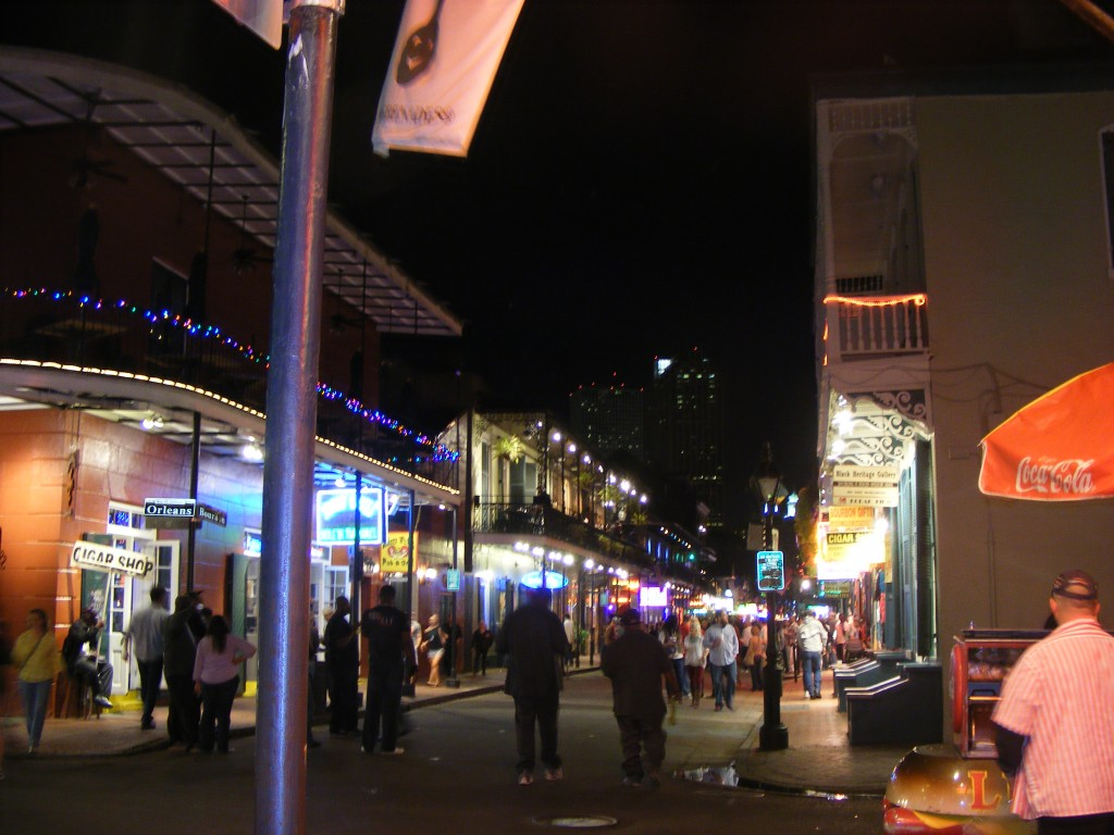 Bourbon Street by night.