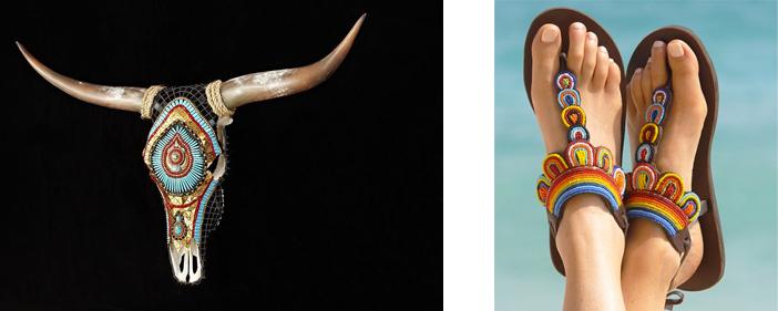 Crâne décoré (États-Unis) / Sandales (Kenya)