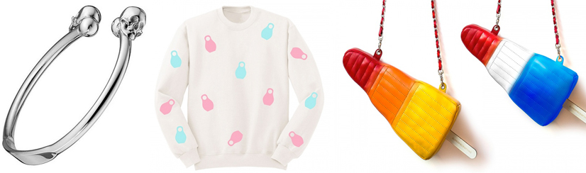 Bracelet par Franck Montialoux (France) / Sweat Matriochka par Candy Sweater (Russie) / Sac Ice Rocket par Superpieceofchic (Belgique)