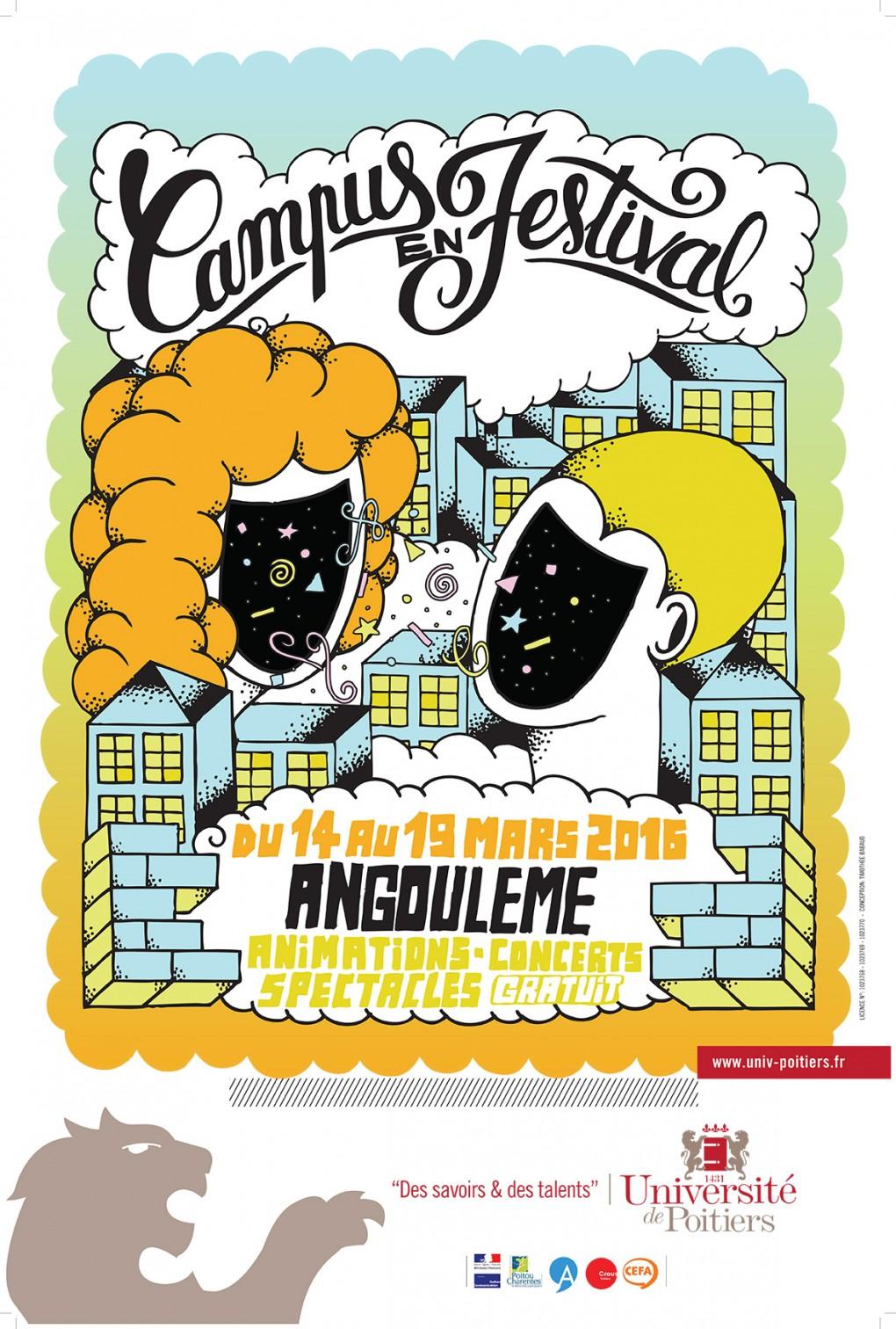 Affiche Campus en Festival Angoulême 2016, très colorée